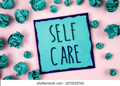 Text sign showing Self Care. Conceptual photo Protection you give to yourself Individual control checking. Concept For Information