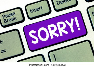 Text sign showing Sorry. Conceptual photo feeling sad distressed through sympathy with someone else misfortune
