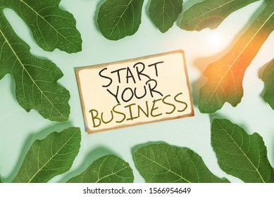 Text sign showing Start Your Business. Conceptual photo going into a New Venture Create New Product Services Leaves surrounding notepaper above an empty soft pastel table as background.