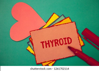 Text sign showing Thyroid. Conceptual photo Gland in neck Secretes hormones regulating growth and development