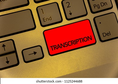 Text sign showing Transcription. Conceptual photo Written or printed process of transcribing words text voice Keyboard brown key yellow laptop creative computer keypad netbook notebook.