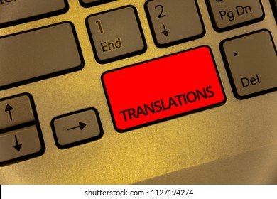 Text sign showing Translations. Conceptual photo Written or printed process of translating words text voice Keyboard brown key yellow laptop creative computer keypad netbook notebook.