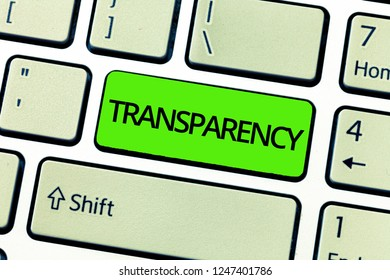 Text sign showing Transparency. Conceptual photo Condition being transparent clear obvious evident Translucent
