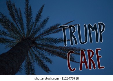 Text sign showing Trump Care. Conceptual photo refers to replacement for Affordable Care Act in united states Tree palm sky blue natural scene landscape love message memories beautiful.