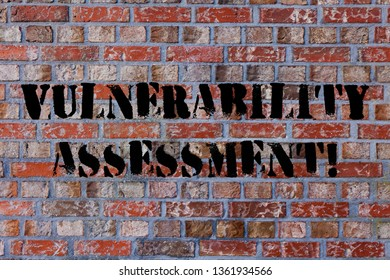 Text sign showing Vulnerability Assessment. Conceptual photo defining identifying prioritizing vulnerabilities Brick Wall art like Graffiti motivational call written on the wall.