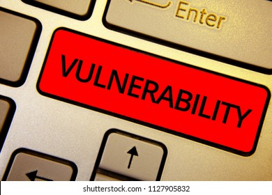 Text sign showing Vulnerability. Conceptual photo Information susceptibility systems bug exploitation attacker Keyboard brown keys yellow laptop idea create computer keypad laptop.