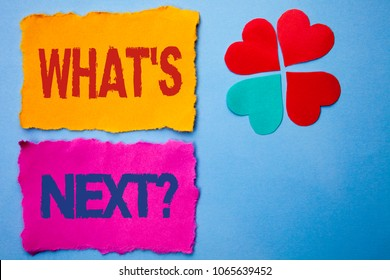 Text sign showing What s Next Question. Conceptual photo Asking Imagination Choice Solution Next Questionaire written on Tear Papers on the Blue background Hearts next to it.