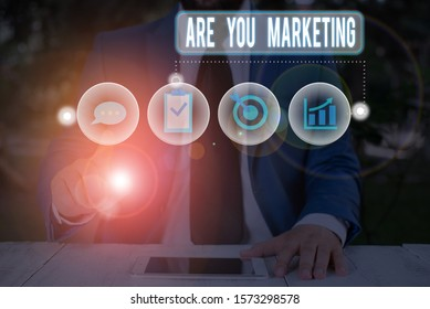 Text sign showing Are You Marketing. Conceptual photo Actions to promote brand product Sales in market.