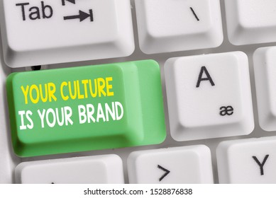 Text sign showing Your Culture Is Your Brand. Conceptual photo Knowledge Experiences are a presentation card White pc keyboard with empty note paper above white background key copy space.