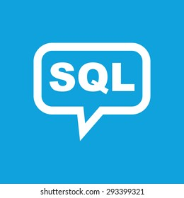 Text SQL in chat bubble, isolated on blue