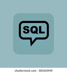 Text SQL in chat bubble, in square, on pale blue background