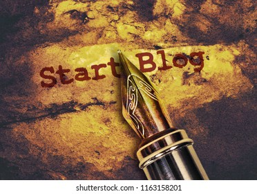 Text Start Blog written in red and fountain pen on vintage background
