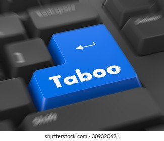 Text taboo button 3d render