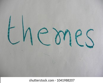 Text themes hand written by green oil pastel on white color paper