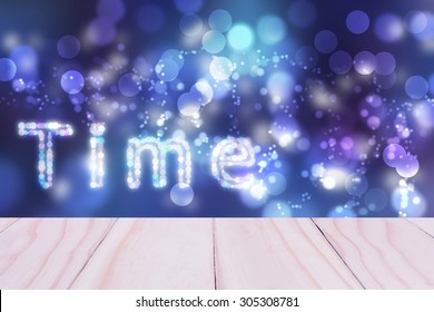 Text Time blue sky bokeh blurred beautiful from my idea.