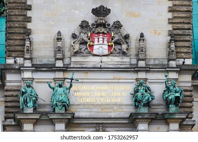 "Text translation from latin to english ""Freedom won by our elders, may posterity strive to preserve it in dignity"". Latin motto of Hamburg on portal facade Hamburger Rathaus. Hamburg, Germany"