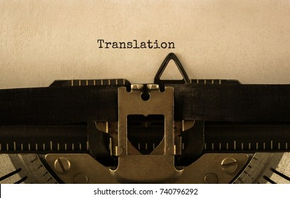 Text Translation typed on retro typewriter,stock image
