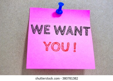 Text we want you on pink paper note