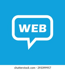 Text WEB in chat bubble, isolated on blue
