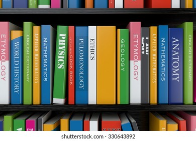 Textbooks on a bookshelf