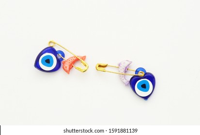 Textile accessories with isolated white background,chain,evil eye bead