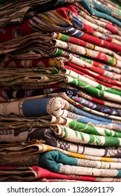 Textile bundles or dress materials stored in a godown or warehouse in Bangalore, India