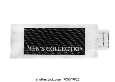 Textile clothes label lettered men's collection isolated over white
