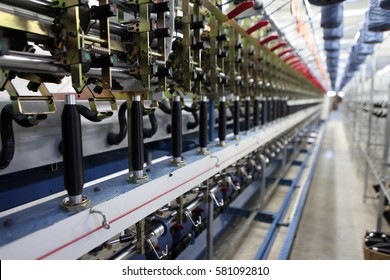 Textile fabric manufacturing machines in work.