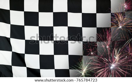 Textile Finish Race flag with firework close up with wind waves in the real fabric