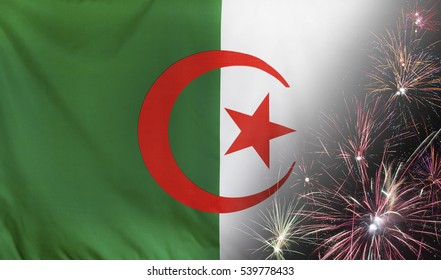 Textile flag of Algeria with firework seamless close up with wind waves in the real fabric