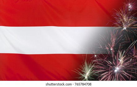 Textile flag of Austria with firework close up with wind waves in the real fabric
