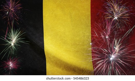 Textile flag of Belgium with firework grunge concept seamless close up with wind waves in the real fabric