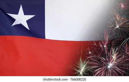 Textile flag of Chile with firework seamless close up with wind waves in the real fabric