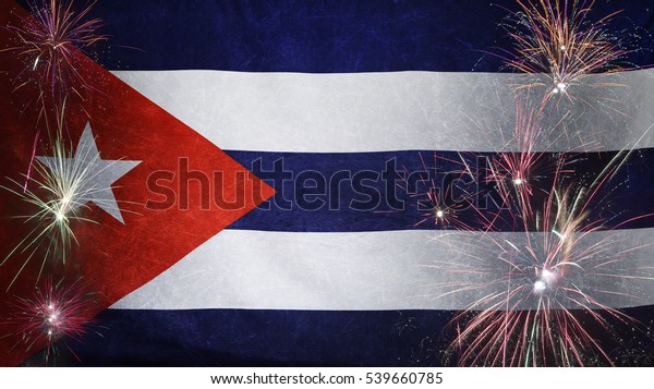Textile flag of Cuba with firework grunge concept seamless close up with wind waves in the real fabric
