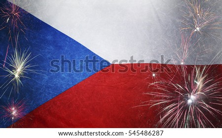 Textile flag of Czech Republic with firework grunge concept seamless close up with wind waves in the real fabric