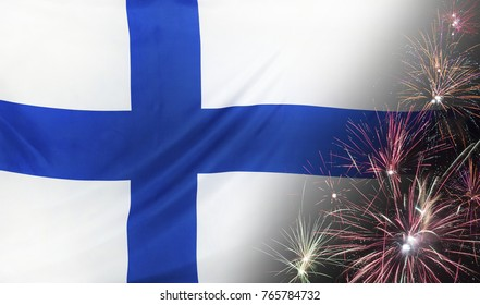 Textile flag of Finland with firework close up with wind waves in the real fabric