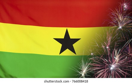 Textile flag of Ghana with firework seamless close up with wind waves in the real fabric