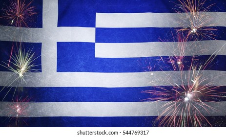 Textile flag of Greece with firework grunge concept seamless close up with wind waves in the real fabric