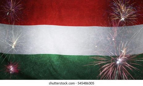 Textile flag of Hungary with firework grunge concept seamless close up with wind waves in the real fabric