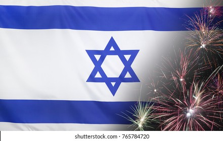 Textile flag of Israel with firework close up with wind waves in the real fabric