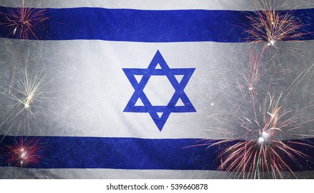 Textile flag of Israel with firework grunge concept seamless close up with wind waves in the real fabric