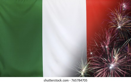 Textile flag of Italy with firework close up with wind waves in the real fabric