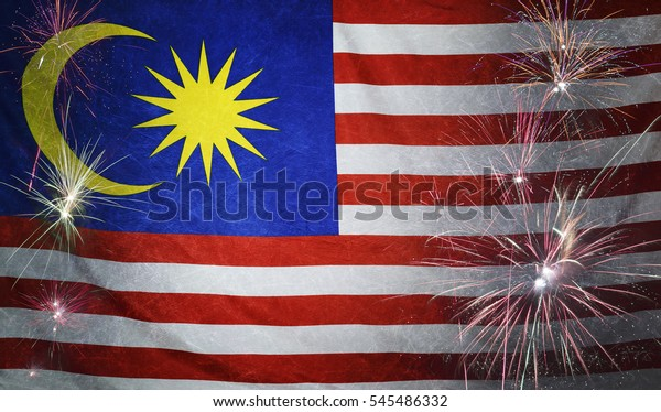 Textile flag of Malaysia with firework grunge concept seamless close up with wind waves in the real fabric