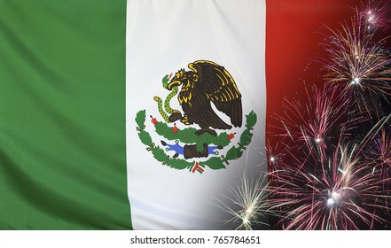 Textile flag of Mexico with firework close up with wind waves in the real fabric