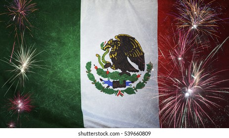 Textile flag of Mexico with firework grunge concept seamless close up with wind waves in the real fabric