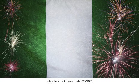 Textile flag of Nigeria with firework grunge concept seamless close up with wind waves in the real fabric