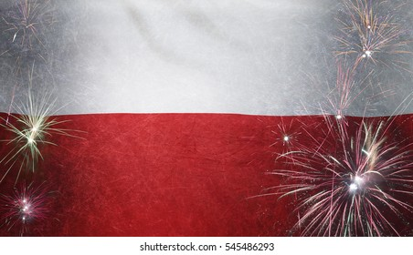 Textile flag of Poland with firework grunge concept seamless close up with wind waves in the real fabric