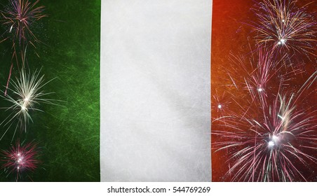 Textile flag of Republic of Ireland with firework grunge concept seamless close up with wind waves in the real fabric