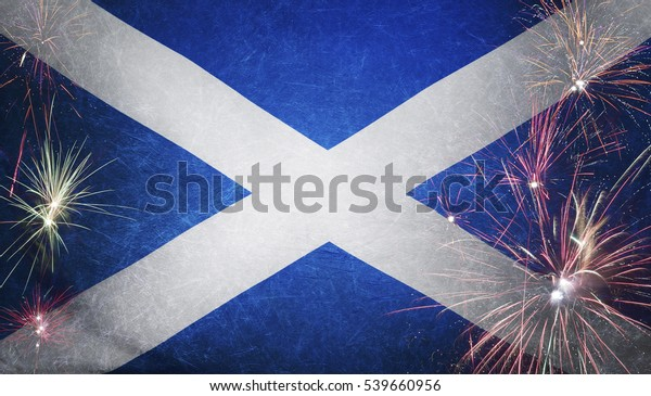 Textile flag of Scotland with firework grunge concept seamless close up with wind waves in the real fabric