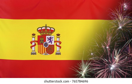 Textile flag of Spain with firework close up with wind waves in the real fabric